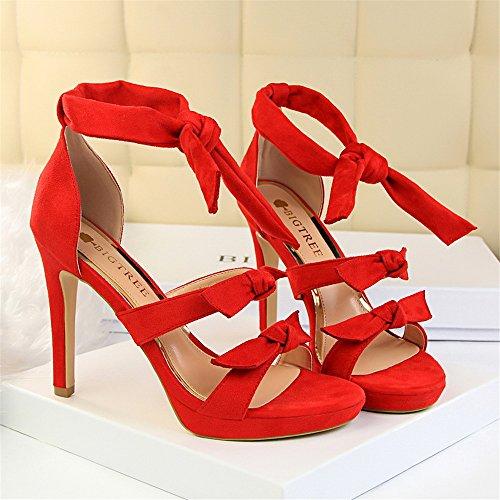 z&dw Moda mariposa nudo tacones altos impermeable tabla hueca una palabra con sandalias Rojo