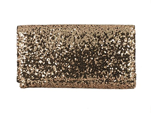 Loni Womens Sparkly Sequin Party Evening Clutch Shoulder Bag in Copper Bronze -