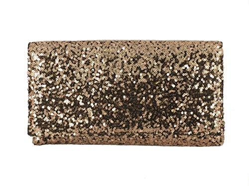 Copper Clutch (Loni Womens Sparkly Sequin Party Evening Clutch Shoulder Bag in Copper Bronze)
