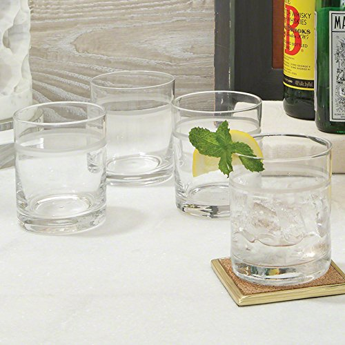 Classic Vintage Style Band Bar Glass Set 12 | Double Old Fashioned Highball 4'' by Global Views