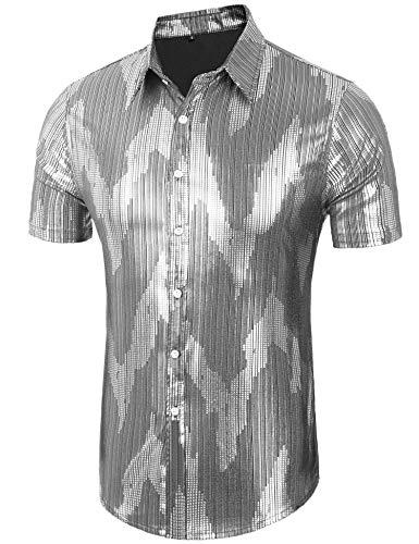 Daupanzees Men's Disco Shirt Long Sleeve Shiny Metallic Gold Silver Nightclub Style Party Polo Shirt (Silver -
