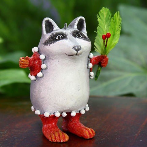 Patience Brewster Mini Huck Raccoon Ornament