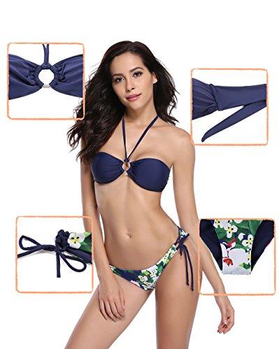 SHEKINI Mujeres de dos piezas Halter Bikini Set Arco Bandeau Top Flor hojas de impresión inferior traje de baño Azul Oscuro