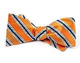 100% Woven Silk Tangerine Bella Striped Self-Tie Bow Tie