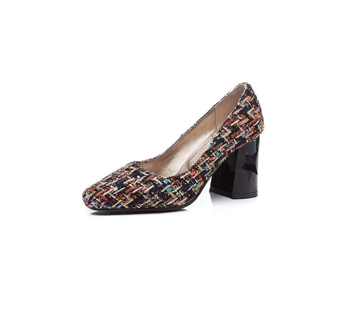 DANDANJIE DANDANJIE DANDANJIE Zapatos De La Mujer Comodidad Tacones Tacón Grueso con Un Hueco De Cinco Puntas Estrellas Zapatos,A,41EU 4dcfe6