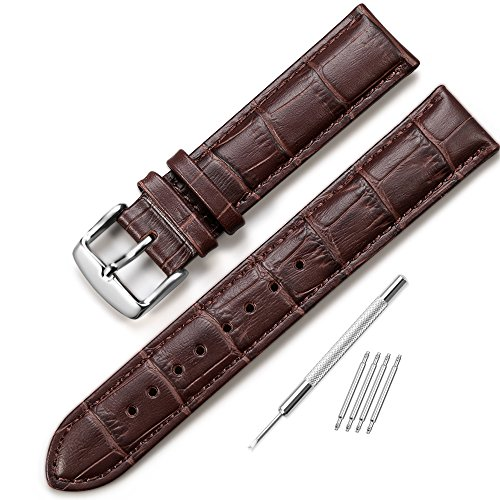 iStrap 20mm Calfskin Leather Watch Band Replacement Strap with Metal Tang Buckle - (Time Brown Leather)