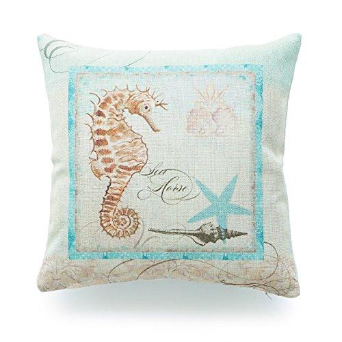 Hofdeco Decorative Throw Pillow Cover HEAVY WEIGHT Cotton Linen Vintage Sea Life Aqua Sea Horse 18