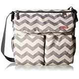 Skip Hop Baby Dash Signature Messenger Diaper Bag with Convertible Shoulder-to-Stroller Shuttle Clips and Cushioned Changing Mat, 11 Pockets, Chevron