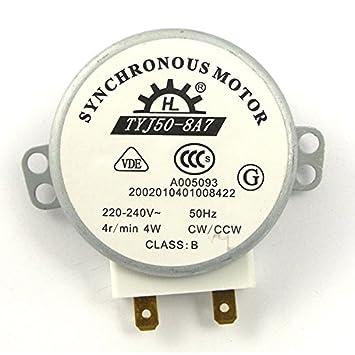 ROSENICE TYJ50-8A7 220V-240V 4 RPM 4W CWCCW horno microondas Turnable Motor sincrónico de CA: Amazon.es: Electrónica