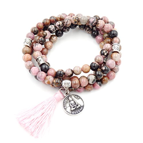 Mala Beads Bracelet, Buddhist Mala Prayer Beads, Buddha Bless Me Statement Necklace (Rhodonite)