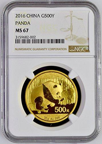2016 CN China 2016 Gold Coin 500 Yuan Panda 30 gram Templ 500 Yuan MS 67 NGC