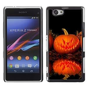 Xperia Z1 Compact D5503 - Metal de aluminio y de plástico duro Caja del teléfono - Negro - Halloween Evil Killer Pumpkin