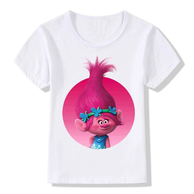 MININ Childrens Trolls Pure Color Printing Short Sleeved T-Shirt
