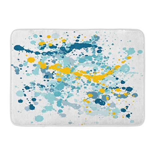 Kuytresdf Doormats Bath Rugs Outdoor/Indoor Door Mat Paint Splashes Yellow Gold and Aquamarine Dark Blue Drops Stains Hand Spots on White Splash Splat Bathroom Decor Rug 16