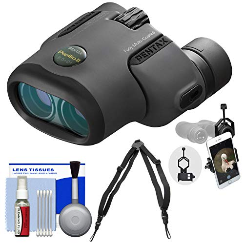 (Pentax Papilio II 6.5x21 Binoculars with Harness Strap + Smartphone Adapter + Cleaning Kit)