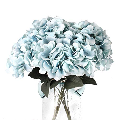 Jim`s cabin Artificial Flowers Silk Hydrangea Flowers with 5 Big Heads Fake Flower Bunch Bouquet for Home Wedding Party Decor DIY (Blue)