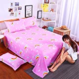 Sheets Couples Creative Double Single Single 1.8m Personality Tide European and American Style College Dormitory Korean Cute Card Rainbow 2.0m2.3m