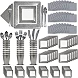 Fancy Disposable Silver Dinnerware Set - 24 Guest - 2 Size Square Plates, Cups, Napkins, Spoons, Forks, Knives - Made of Heavyweight Paper - Posh Dinnerware w/ Elegant Design Perfect for Upscale Party