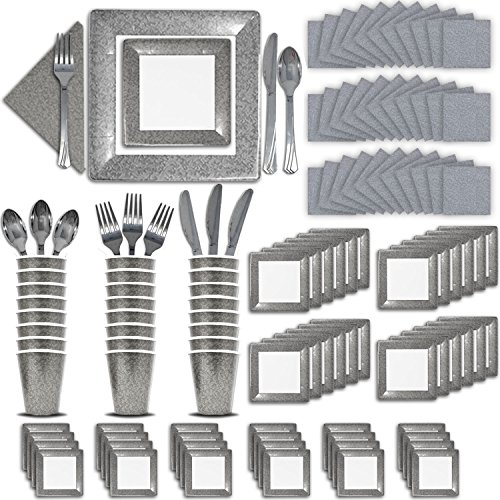Fancy Disposable Silver Dinnerware Set - 24 Guest - 2 Size Square Plates, Cups, Napkins, Spoons, Forks, Knives - Made of Heavyweight Paper - Posh Dinnerware w/ Elegant Design Perfect for Upscale Party -