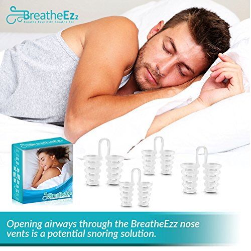 Anti Snoring Solutions, Nasal Dilators, Nose Vent Anti Snoring Device Snore Stopper – Snoring Solution Sleep Aid Device Set of 4 by Breathe Ezz by Breathe Ezz (Image #2)