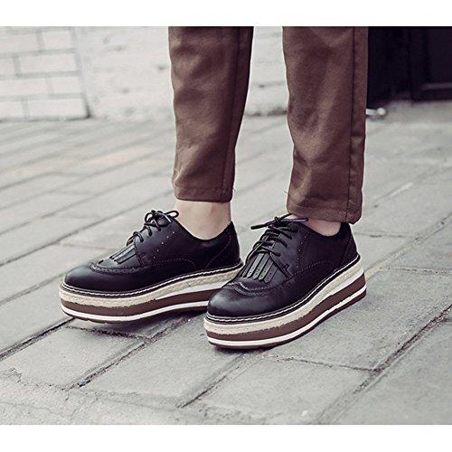 T-juli Damesmode Oxfords Schoenen - Comfortabel Geperforeerde Veterschoenen Met Dikke Zolen Ronde Neus Zwarte Schoenen Zwart