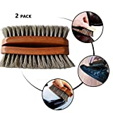 """2PCS 6.7"""" Horsehair Shoe Shine Brushes with Horse Hair Bristles for Boots, Shoes Handbags Coats Pants Sofa Furniture Clothes Leather Care, Brush for Polishing Cleaning Designer, Brown Color"""