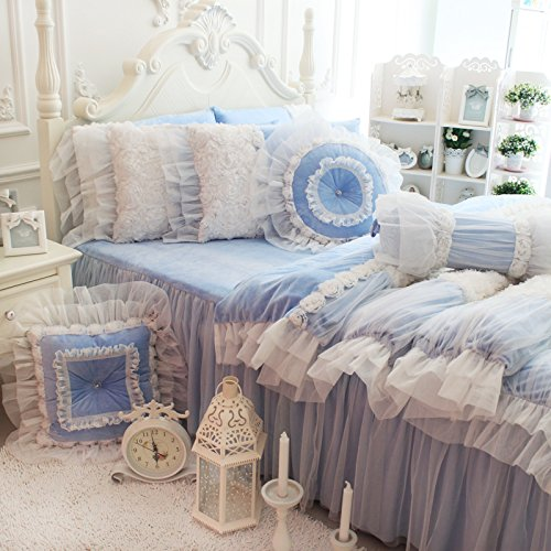FADFAY White Lace Ruffle Bedding Set, Flannel Bedding Duvet Cover Set Luxury Korean Rose Bedding Cozy Short Plush Microfiber Cute Girls Fairy Princess Romantic Love Wedding Bedding 7Pcs Bule (Lace Flannel Bedding)