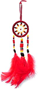 Mia Jewel Shop Small Dream Catcher Natural Feather Beaded Dangle Handmade Ornament Traditional Native Home Décor Wall Hanging Decoration (Red)