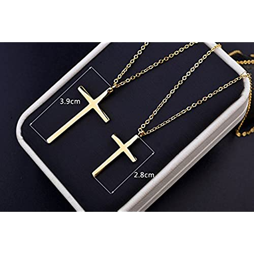 """Simple Smooth Cross Pendant Necklace Fashion Jewelry 18"""" (Gold Plated)"""