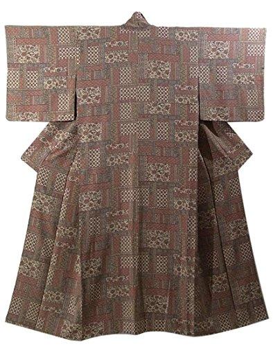 過半数すり行為リサイクル 着物 正絹 袷 小紋  更紗文様 裄65cm 身丈157cm