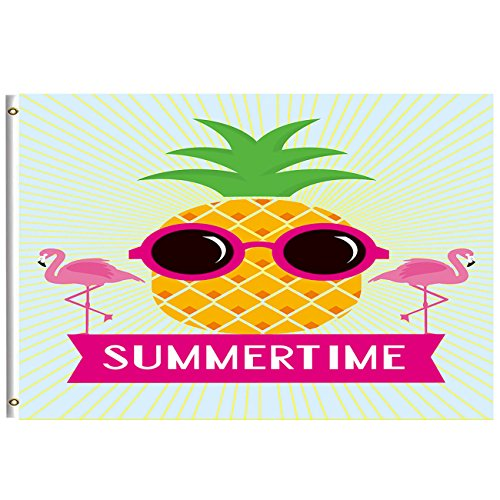 - Pineapple Flamingo Summertime Funny Flag 3x5 Feet with Brass Grommet Double Stitch Tropical Pineapple Wear Sunglasses Welcome Summer Banner Garden Flag House Decor Decorations Indoor Outdoor