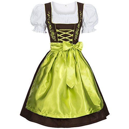 [Women's Set-3 Dirndl Pieces Embroidery 44 Brown/Green] (Dirndl Costume)