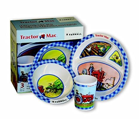 Motorhead Products Tractor Mac 3 Piece Childrenu0027s Dish Set