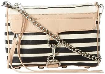 Rebecca Minkoff Mini MAC Stripe H001E720 Convertible Cross-Body Handbag,Black,One Size