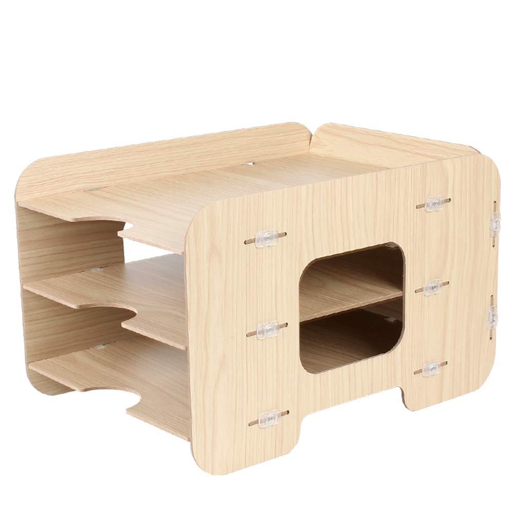 Heatleper 3 Tier Wooden Desktop Office Document Tray Holder, A4 File Folder Rack Paper Document Magazine Holder Desk Organizer for Office School Home (Burlywood)