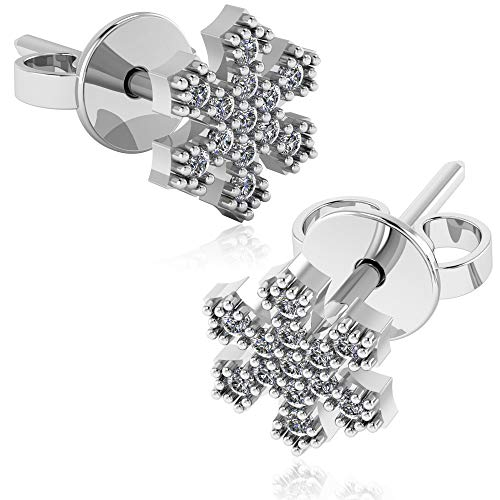 (.925 Sterling Silver & Pavé-Set Cubic Zirconia Petite Stud Earrings - Winter Snowflake)