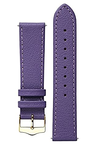 Signature Seasons in purple 18 mm watch band. Replacement watch strap. Genuine leather. Gold Buckle (Purple Gold Watch)