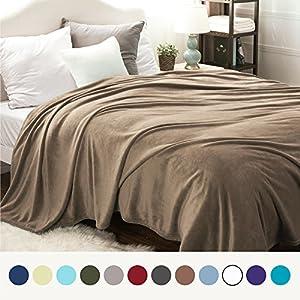 Flannel Fleece Luxury Blanket Camel Queen Size Lightweight Cozy Plush Microfiber Solid Blanket by Bedsure