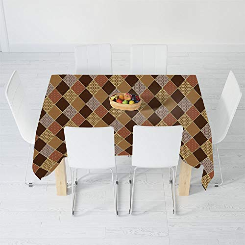 Waterproof Tablecloth,Brown,for Dining-Table Tea Table Desk Secretaire,48 X 24 Inch,Lozenge Pattern in Patchwork Style Classical Old