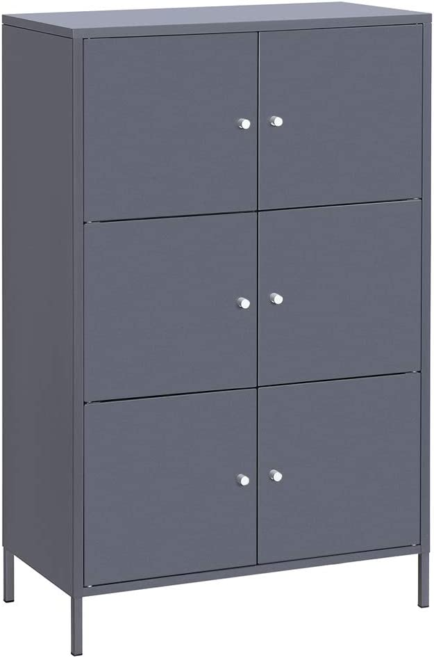 SONGMICS Storage Cabinet, 3-Tier Metal Office Cabinet, Multipurpose Storage Organiser Stand with 6 Doors, 27.5 x 14.2 x 44.2 Inches, Max. Load Capacity 33 lb per Shelf, Gray UOMC06GB