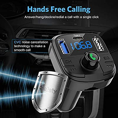 Bluetooth FM Transmitter for Car, Clydek BT 5.0 & QC3.0 Car Bluetooth Adapter Wireless Bluetooth FM Radio Adapter with 5 EQ Mode, 3 Charging PortsSupport USB Disk, TF Card Hands-Free Car Kits: MP3 Players & Accessories
