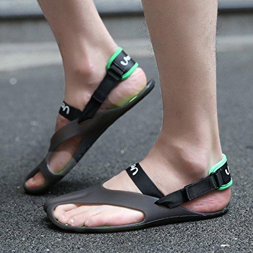 Xing Lin Sandalias De Cuero El Perezoso Multitudes De Hombres Zapatos De Cuero, Sandalias De Parejas Con Antideslizante Que La Drag-And-Drop ,42, Playa Fresco Negro