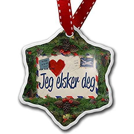 christmas craft tree decorations i love you norwegian love letter from norway christmas ornament custom xmas - Norwegian Christmas Decorations