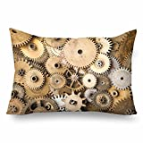InterestPrint Vintage Retro Steampunk Gears Mechanical Clock Pillow Cases Pillowcase Queen Size 20x30, Rectangle Pillow Covers Protector for Home Couch Sofa Bedroom Decoration