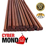 Reusable Chinese Wooden Chopsticks,Dishwasher Safe Chopstick,Pack of 10, Natural Health for Cooking Eating,Korean & Japaness Style,9.8 inch Long,Brown