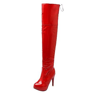 AIYOUMEI Damen Lack Stiletto High Heel Plateau Overknee Stiefel Stiefel Stiefel mit dbe675