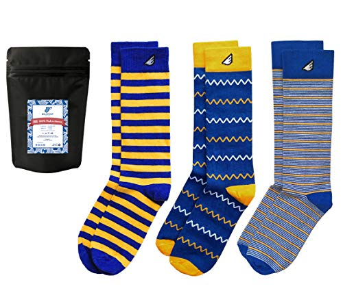 Blue & Gold Dress Socks Men Fun Color-ful Gift 3-Pack Awesome Happy, Made in USA