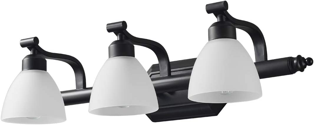 KODYE Vanity Lights, Classic Black Light fixtures, Bathroom Lights Over Mirror with White Frosted Glass Shade, Up and Down Bathroom Lights Perfect for Wall Mounted (Bathroom Vanity Lights 3 Lights)