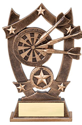 Etch Workz Dart Board Award - Gold Star Series Gold Tone - Free Engraved Name Plate on Request