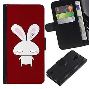 Planetar® Modelo colorido cuero carpeta tirón caso cubierta piel Holster Funda protección Para SAMSUNG Galaxy S4 IV / i9500 / SGH-i337 ( Cute Bunny Love )